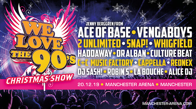 We Love The 90`s Christmas Show: VIP Tickets + Hospitality Packages - Manchester Arena